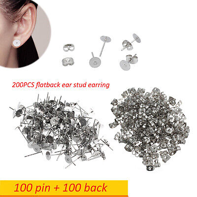 Earring Stud Posts 6mm Pads and backs Hypoallergenic Surgical Steel 200pcs