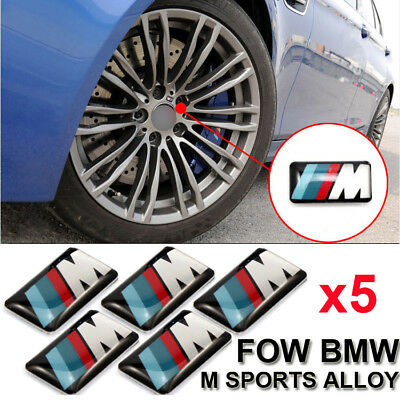 5Set M Tech Power Alloy Wheel Badge & Steering Emblem Decal For BMW All M Series