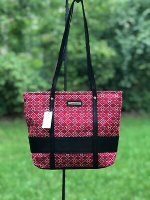Longaberger Red purse, handbag, tote bag, Black handles, Homestead Snap Top