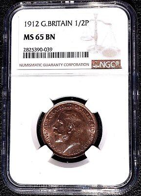 1912 Great Britain 1/2 Penny, NGC MS 65