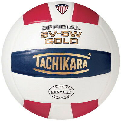 Tachikara SV5W Gold NFHS Premium Leather Volleyball, Scarlet/White/Navy