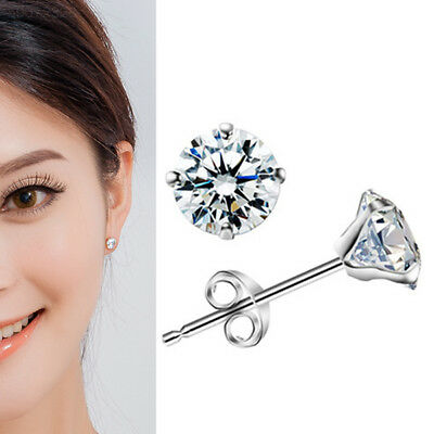 4C65 925 Sterling Silver Crystal Shiny Ear Stud Earrings Girl Fashion Gift