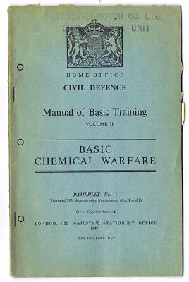 Home Office Civil Defence Manual 1949 Basic Chemical Warfare 96 pages
