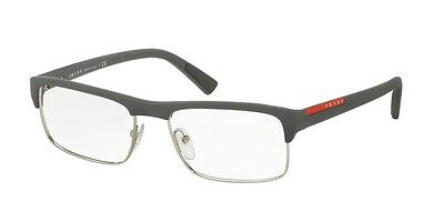 New Prada Eyeglasses PS06FV UFK1O1 54mm Sport Linea Rossa Grey Rubber With Tags