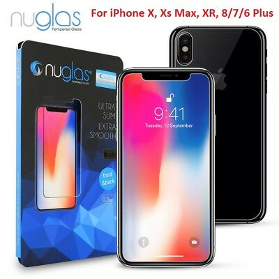 NUGLAS FRONT AND BACK Tempered Glass Screen Protector iPhone Xs Max XR 8 7 6Plus