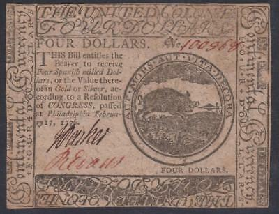 Colonial-Americana CC-26 PCGS CU62 $4.00 Feb. 17, 1776 Continental Colonial Note