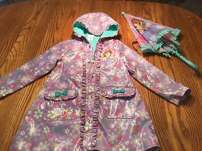 Youth Girl's Lined Disney Raincoat With Matching Unbrella Size 5/6