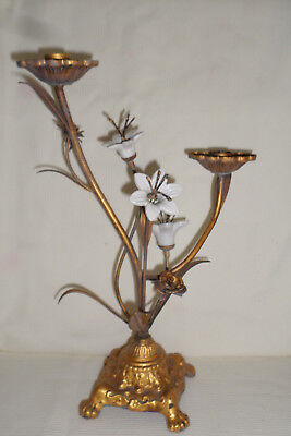 Antique French Gilded Metal & Porcelain Double Candlestick