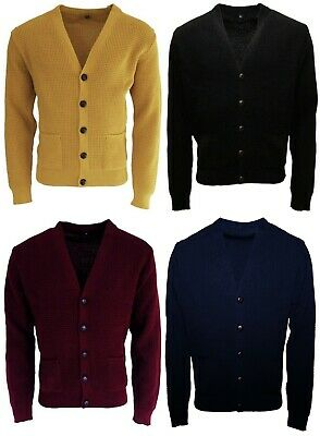 Men s Waffle Knit Black Yellow Burgundy Button Front Mod Retro Relco  Cardigan 0d43320f0