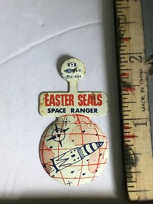 1950s Easter Seals SPACE RANGER! Litho TIN Fold Over Button MINT UN BENT Rockets