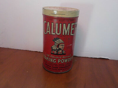 Vintage Calumet Baking Powder Empty tin can w/ lid nice graphics, 1 lb.