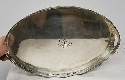 Antique Large Heavy Sheffield Silver PLate Serving Tray Platter Copper Monogram