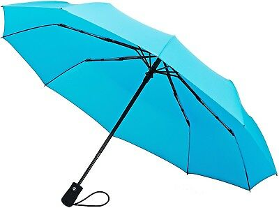 (Turquoise 10-Rib Frame) - Crown Coast Umbrella Windproof To 60 MPH - Compact