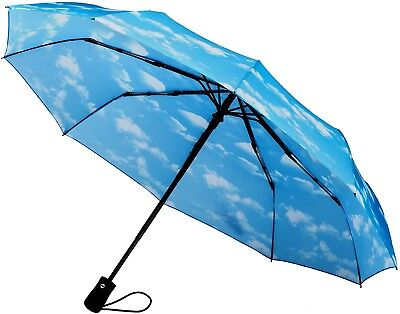 (Sky Clouds 10-Rib Frame) - Crown Coast Umbrella Windproof To 60 MPH - Compact