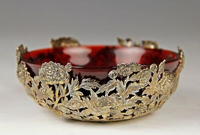 Antique Chinese Wang Hing Silver Bowl With Peking Ruby Glass Liner