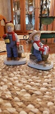 "Homco DENIM DAYS One Pair 1985 ""Holiday Sleds"" #1528 Christmas Figurines"