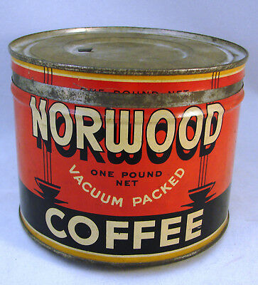 1940-50s C.D. Kenny Co. Coffee Can - Norwood Coffee, One Pound Tin