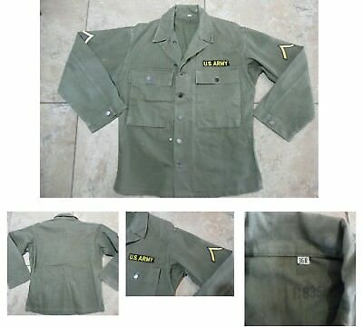 VTG WWII ERA US ARMY HBT SHIRT/JACKET Herringbone Twill Sleeve Rank Sz 36 R