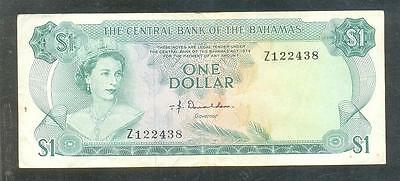Replacement Central Bank Of Bahamas 1 One Dollar Note L.1974 Serial Prefix Z Vf-