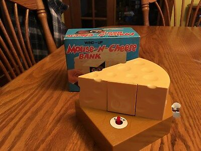 Wind-Up Mouse-N-Cheese Bank - Cute - Original Box - Never Used