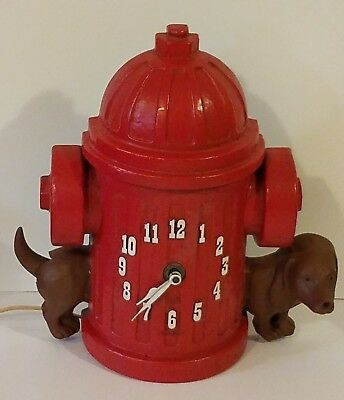 Vintage 1950s Fire Hydrant Dachshund With Wagging Tail Wall Clock