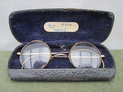 Antique Gold Horn/Tortoiseshell rimmed Glasses Spectacles in Original Case.