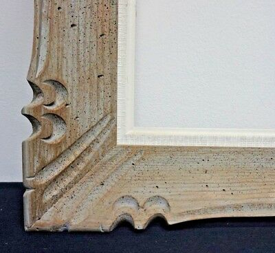 """Large Vintage French Mid Century Carved Wood Picture Frame fits 24"""" x 26"""