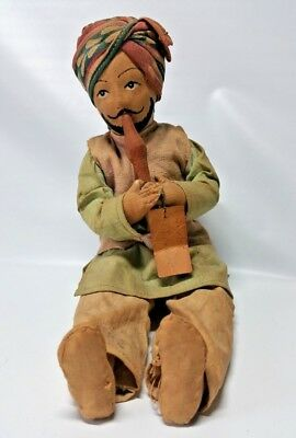 """Vintage Snake Charmer Cloth Doll Hand Made India Man Wood Flute Sitting 7"""""""