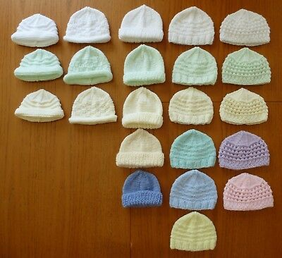 Lovely Hand Knitted Premature Baby Hat's ~ 5 Design's to choose from