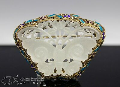 Old Chinese Carved Jade Butterfly Pendant In Enameled Silver Mount