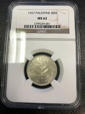 1927 50 Mils NGC MS62 Silver Coin Palestine - Israel - RARE!