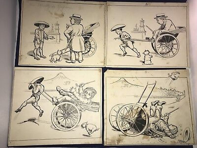 Saturday Evening Post 4 Antique 1920s CARTOON Art Drawings Paul Goold Mr Stoutly