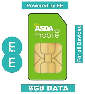 ASDA Mobile 6GB Data Trio Sim Card POWERED BY EE PAYG For Mobiles Dongles Tablet