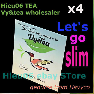 4 boxes Vy&tea herbal tea help weight loss - genuine product from Havyco Vietnam