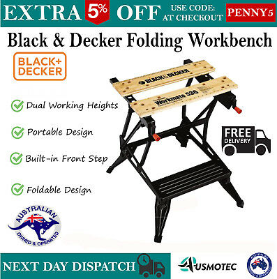 Black & Decker New Workshop Duty Table Folding Workbench Clamps Table Sawhorse