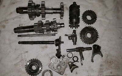1980-81 Yamaha YZ250 Transmission gears, shift forks, shafts.