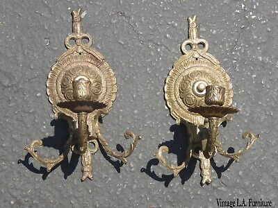 "Vintage French Provincial Brass Wall Sconces Candelabras 10"" Tall"