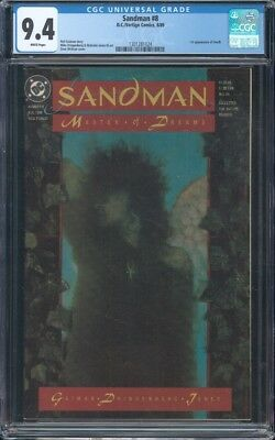 Sandman (1989) #8 Cgc 9.4 Nm Wp 1St App Of Death  Dave Mckean Cover