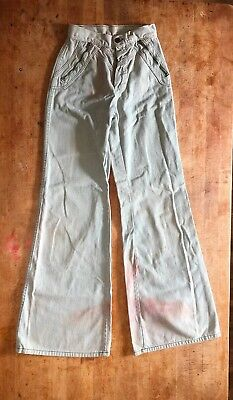 "Girls Vintage 70s Bell Bottom Pants Sz 21"" Waist 21x31"