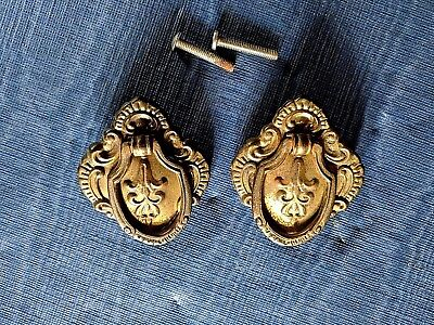 Pair Victorian Style Antique Metal Drop Drawer Pull Handles Brass Color