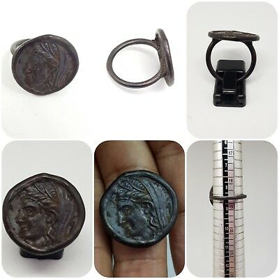 stunning Greek coin bronze old Ring # K1