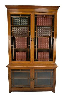 Antique / Large Victorian Walnut Library Bookcase Circa 1890