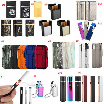 Electric USB Rechargeable Cigarette Case Lighter Windproof Flameless Lighters