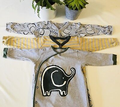 X3 Next Boys/Girls Yellow Grey Sleepsuits Baby Grows All In Ones. 12-18 Months