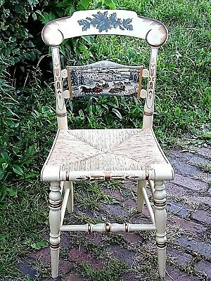 Hitchcock 1987 American Folk Art Christmas Winter scene Ascent Chair Artist sign
