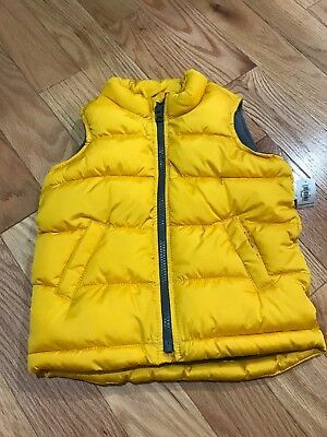 OLD NAVY Zip Up Puffer Vest Frost Free Yellow And Gray Toddler Kids Boys Size 3T