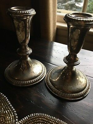 Vintage Sterling Silver Weighted Pair of Candle Holder Sticks