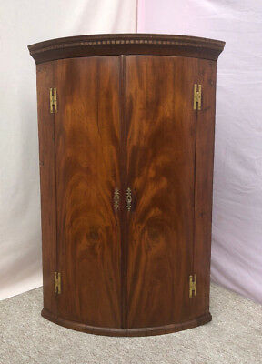 Georgian Bow Fronted Mahogany Corner Cupboard