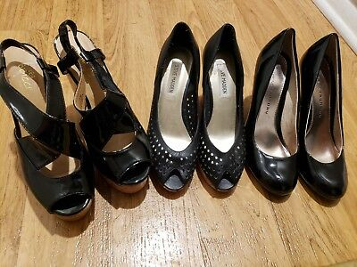 Lot of 3 Pairs of Woman Shoes Black Size 7 1/2