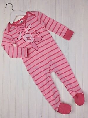 Girls DISNEY Piglet Pink Sleepsuit All In One Romper Outfit 9-12 Months Ex Cond